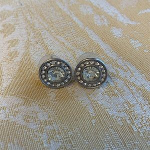 Express Round Rhinestone Stud Earrings Silver Tone